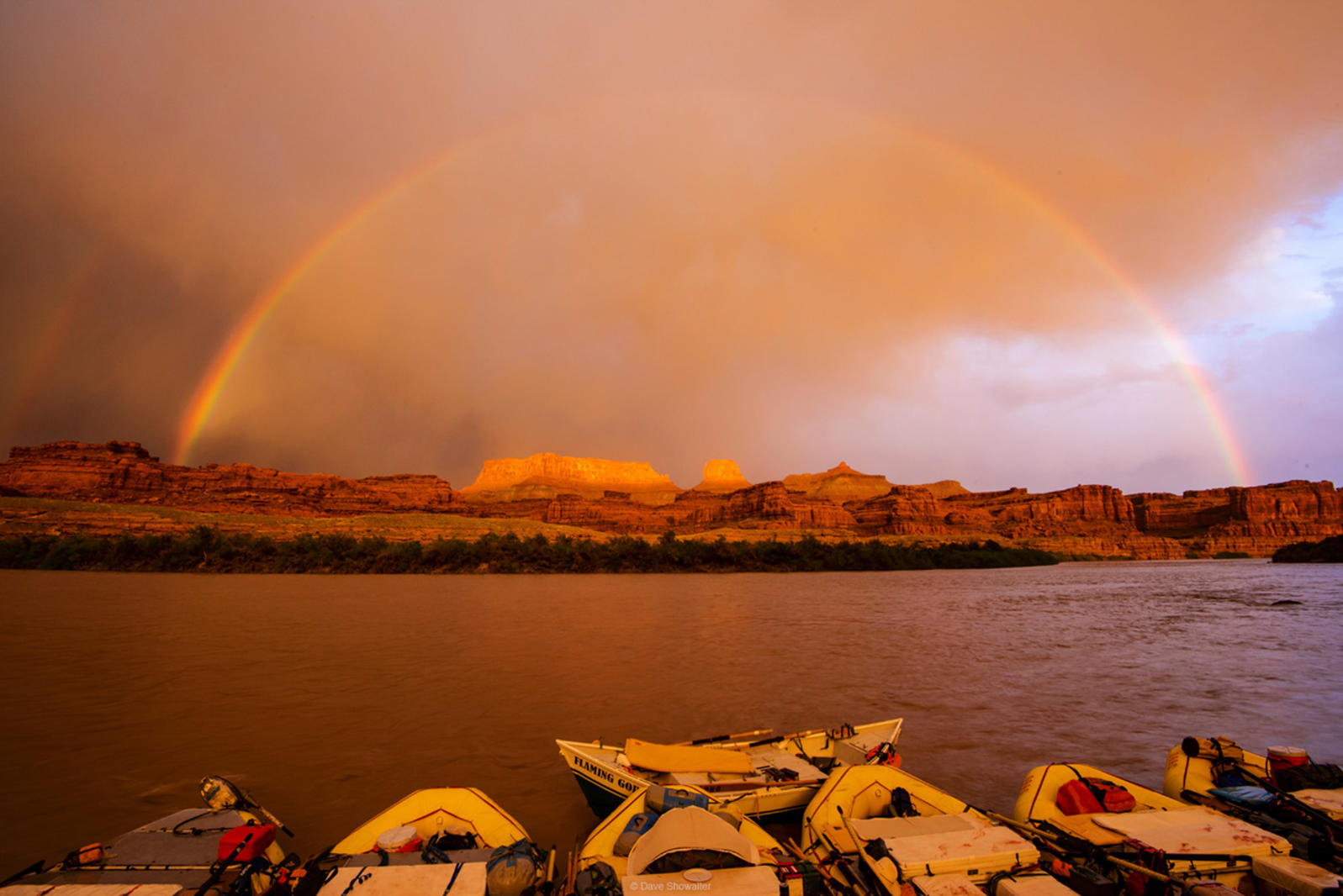Rainbow over Mitten Butte and the Colorado River.