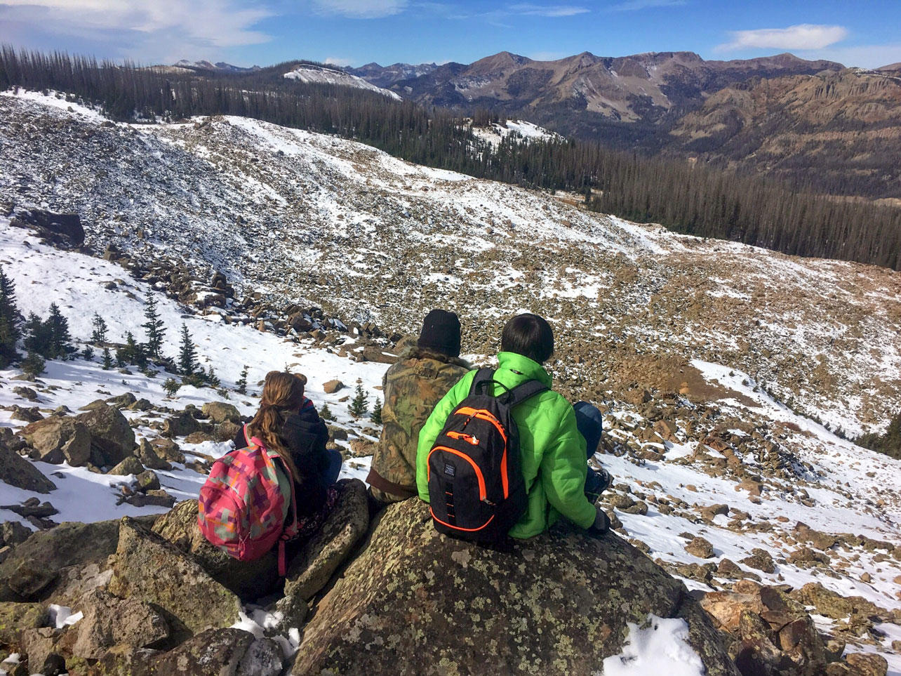 Pagosa Peak Open School students monitoring pikas in San Juan National Forest, Colorado.