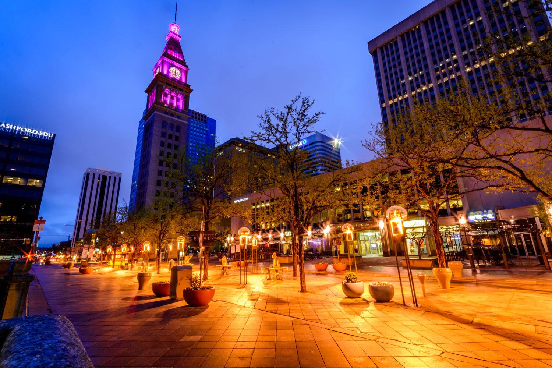 Denver's 16th Street Mall lit at night.