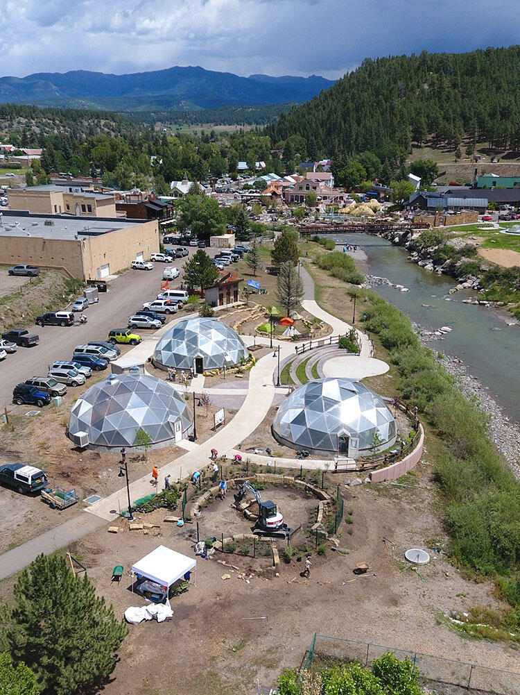 An aerial view of the Habitat Hero garden at the Geothermal Greenhouse Partnership.
