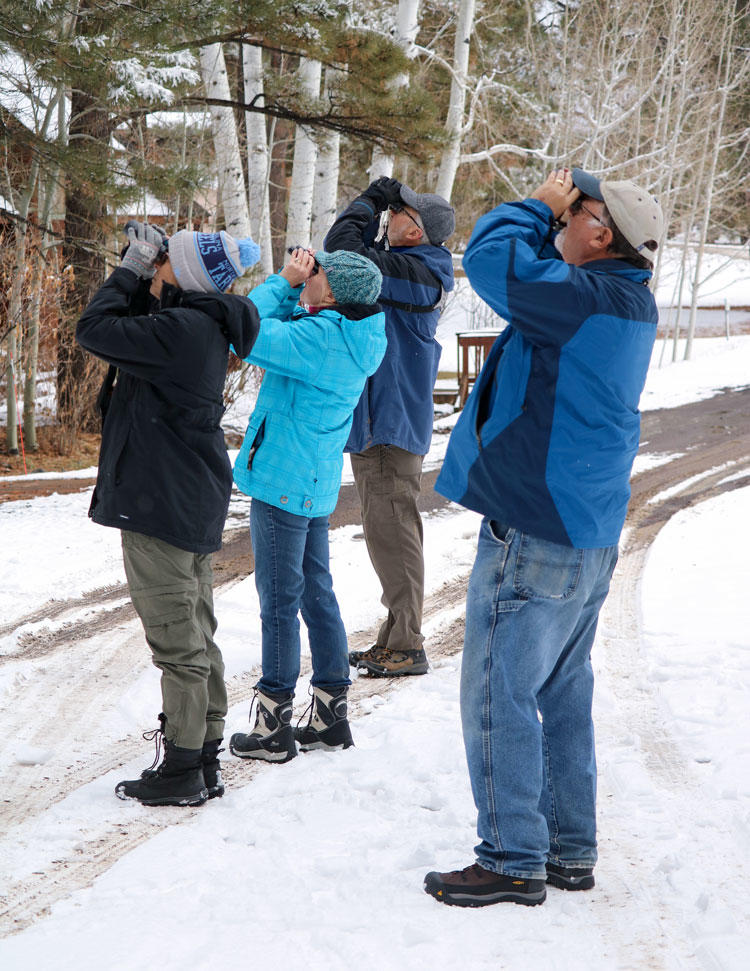 Volunteers surveying birds on the Pagosa Springs Christmas Bird Count.