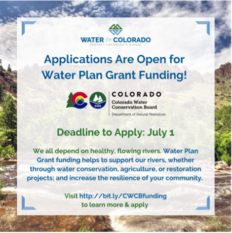A flyer promoting the water plan grant applications.