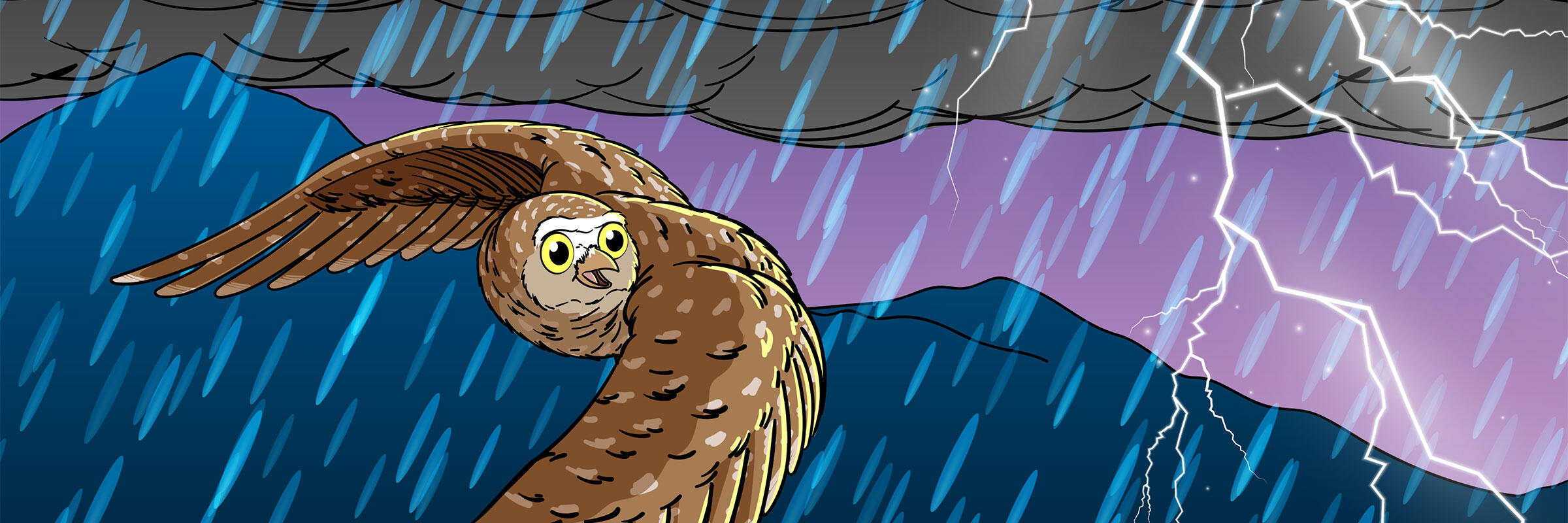 An illustration of a Burrowing Owl flying across a rainy sky with lightning.