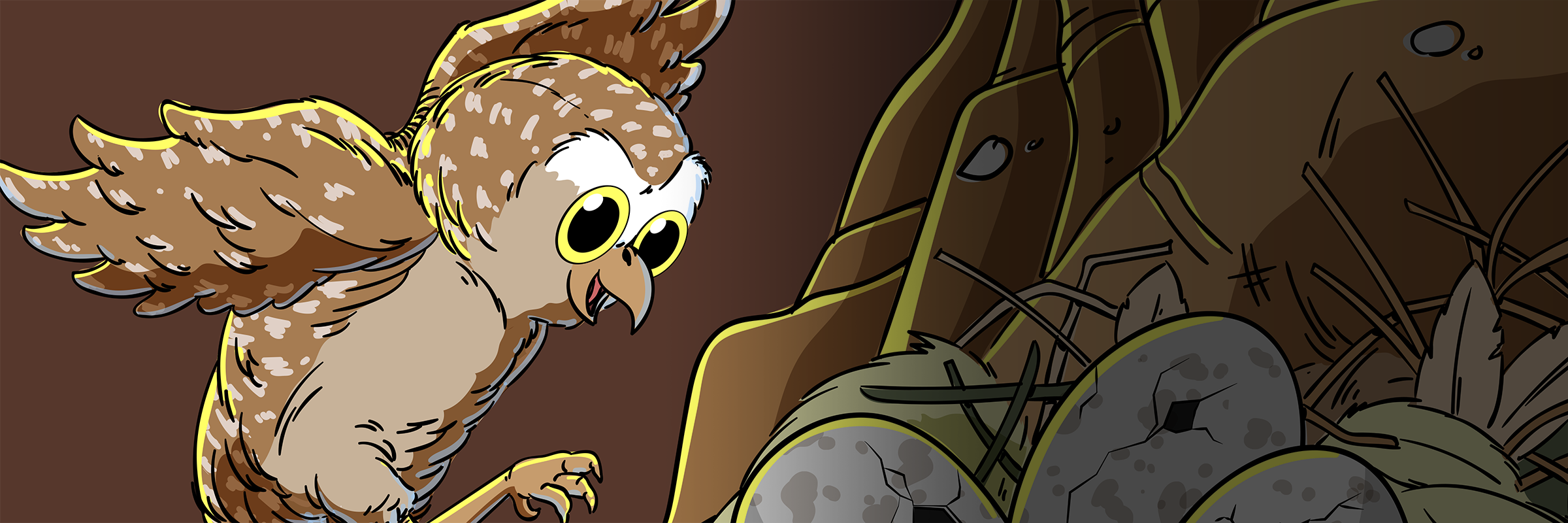 An illustration of a Burrowing Owl landing at a nest with eggs.