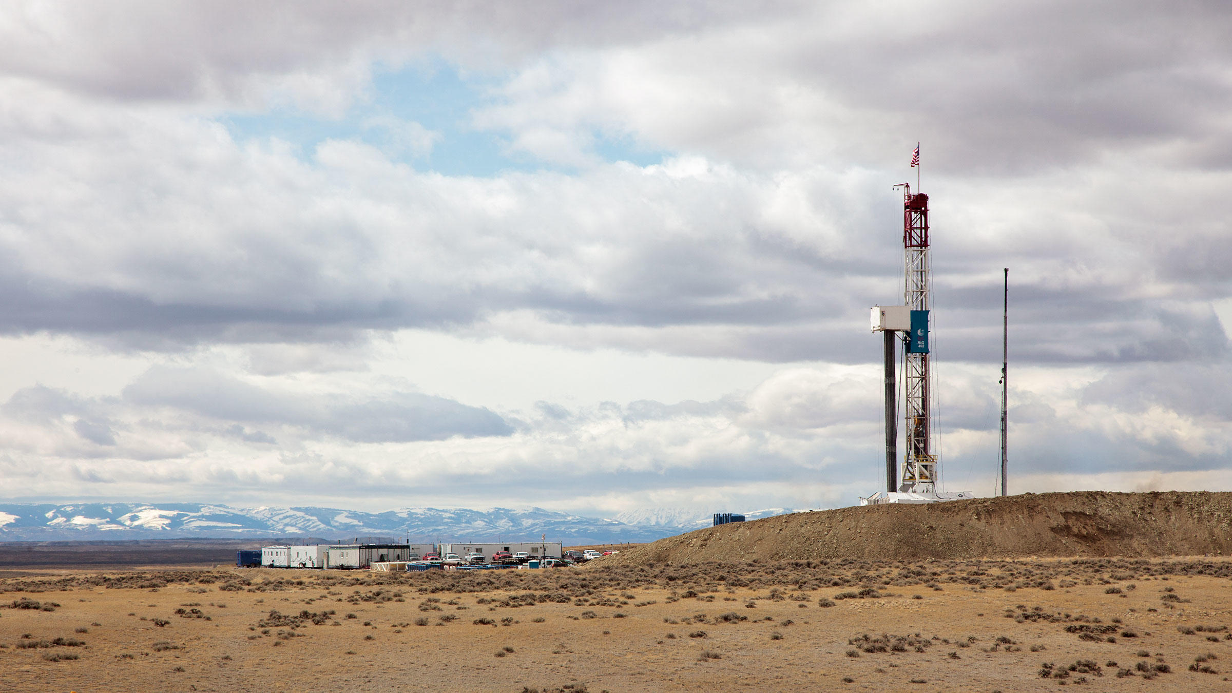 An oil drill in the heart of Wyoming's sagebrush steppe.