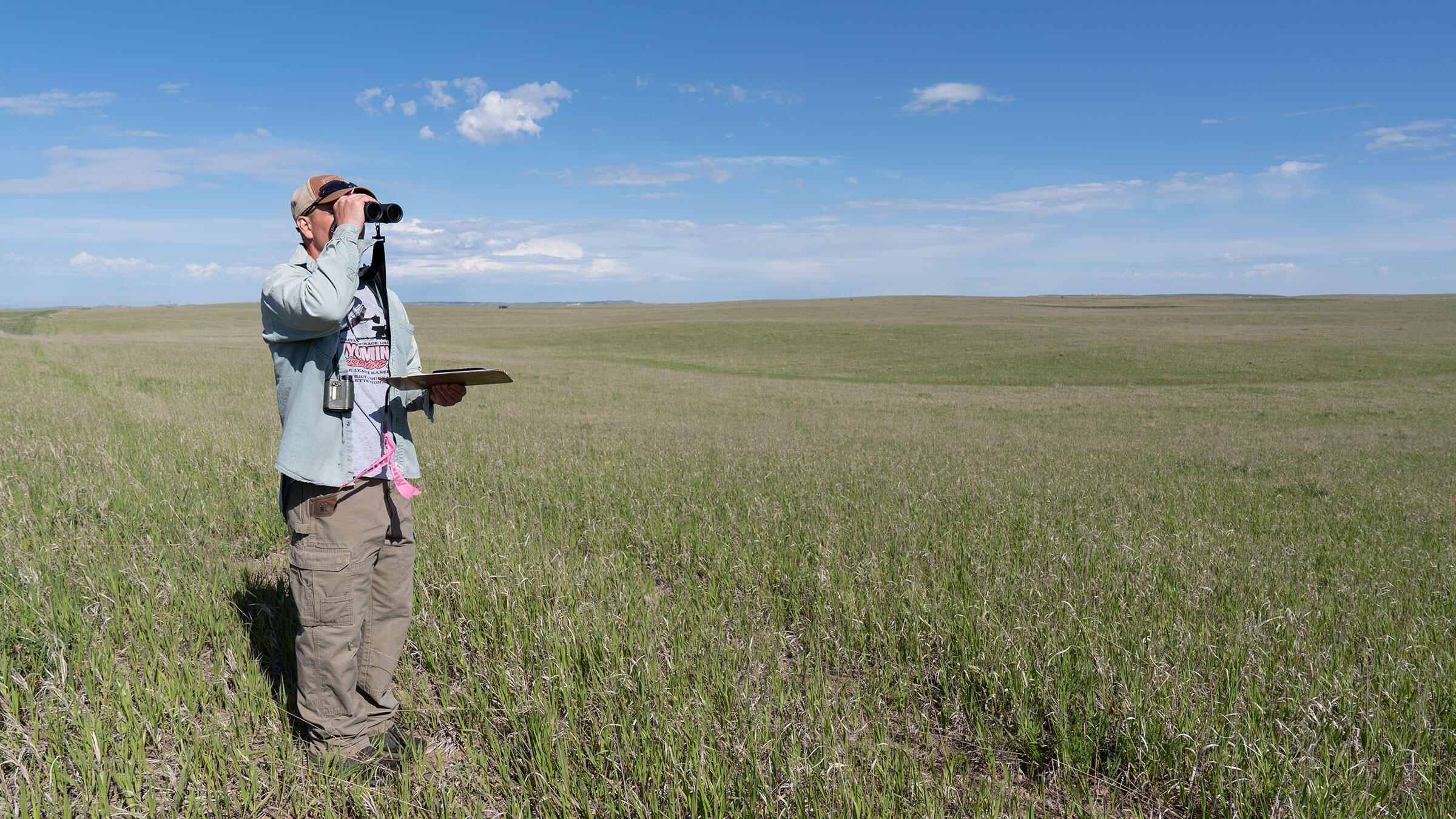 Bill Vetter monitoring birds on May Ranch in southeast Colorado