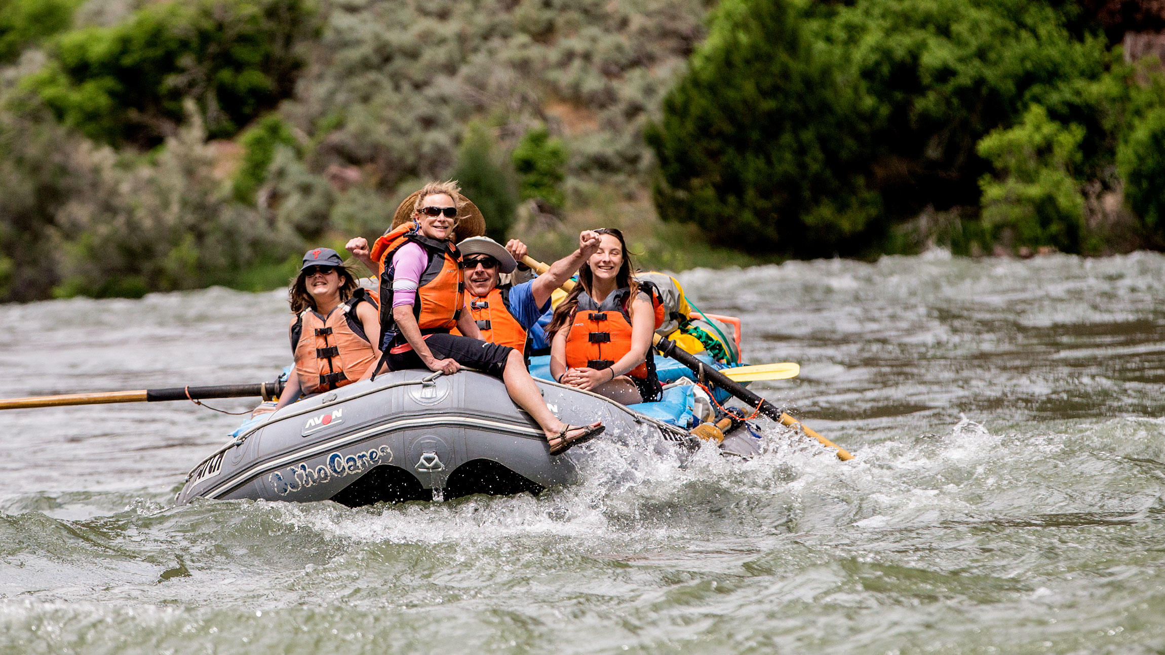 Bebo Andrews, Dennis Tharp, and their daughter, Nisty, on the Audubon Rockies Green River trip.