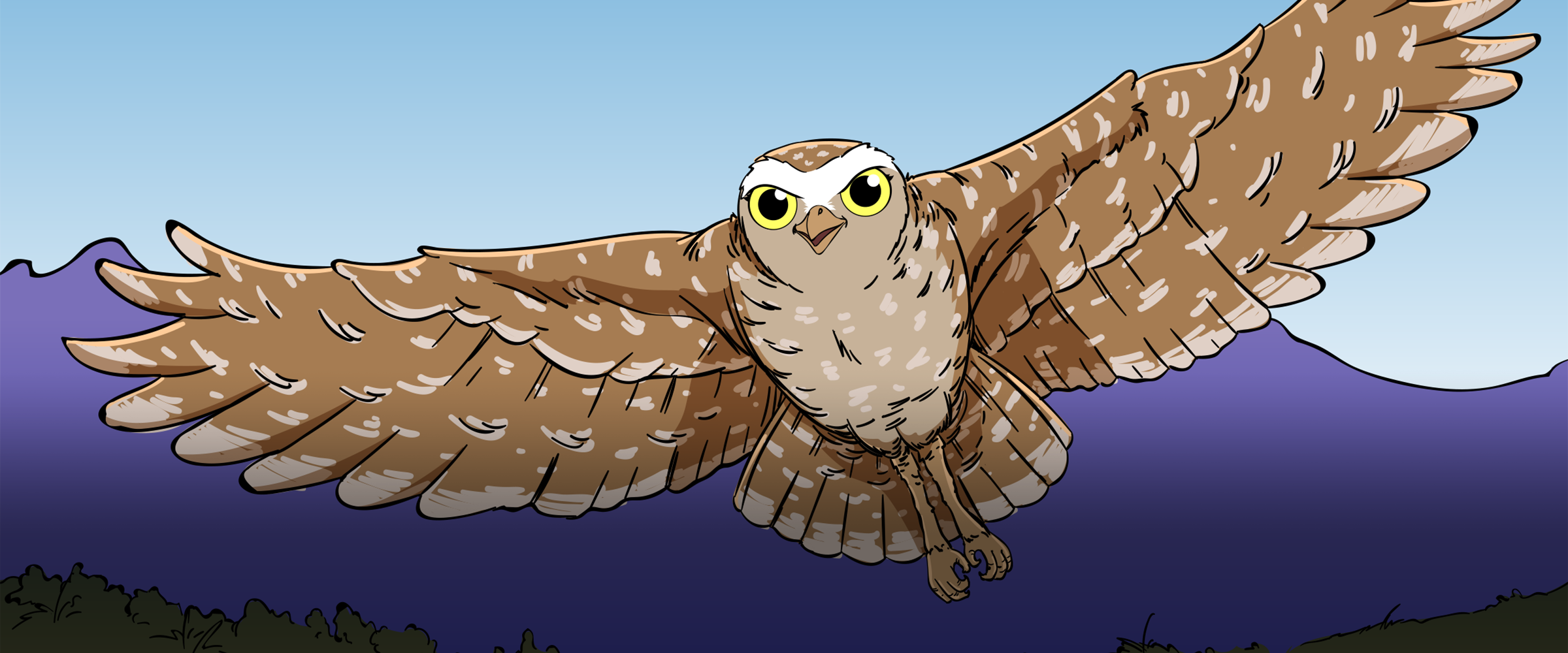 An illustration of a Burrowing Owl in flight.