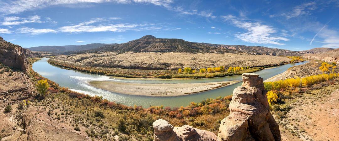 The Colorado River flows through Mesa County, Colorado.
